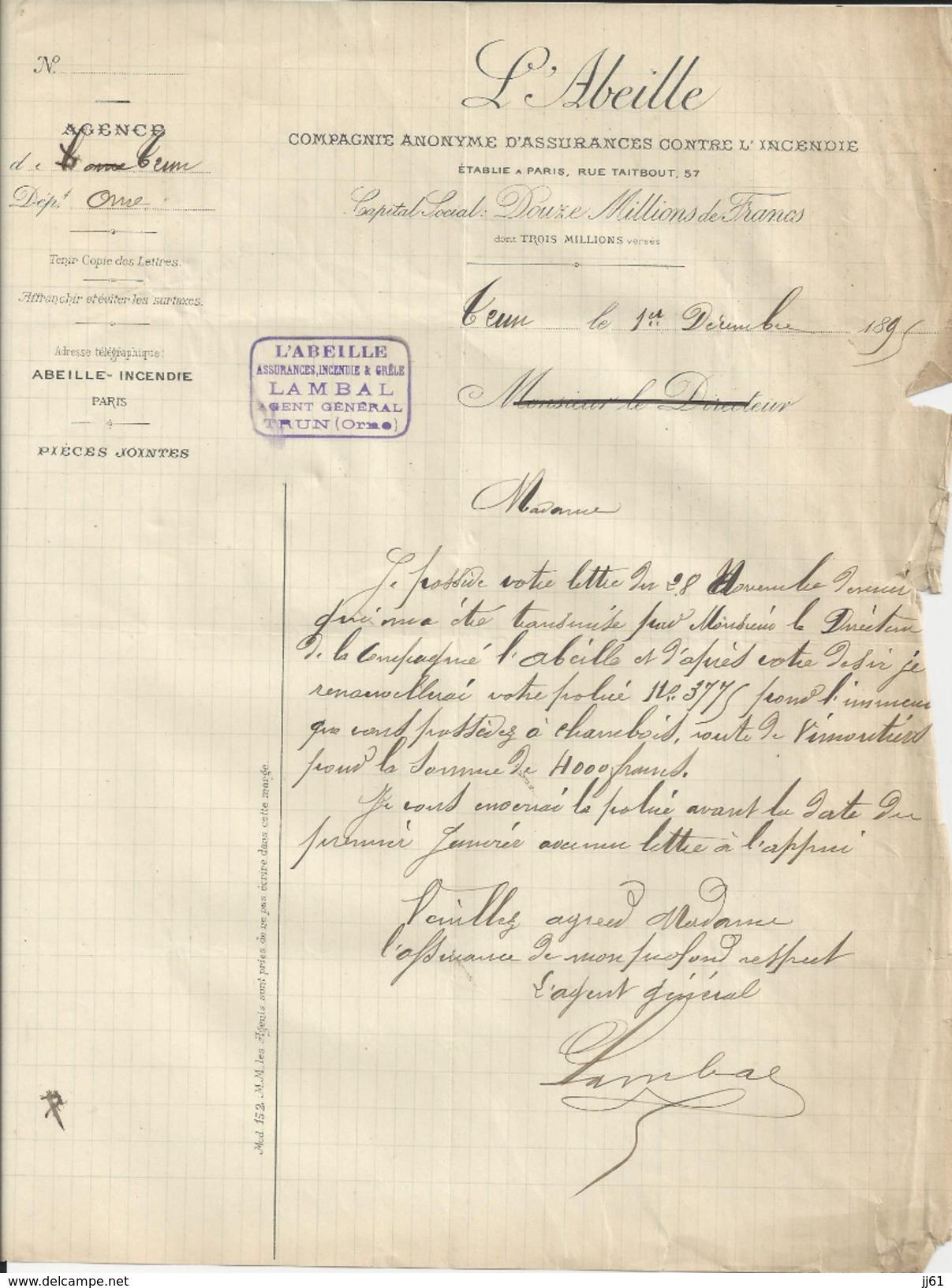 TRUN ORNE MR LAMBAL  AGENT D ASSURANCE L ABEILLE ANNEE 1895 - Royaume-Uni