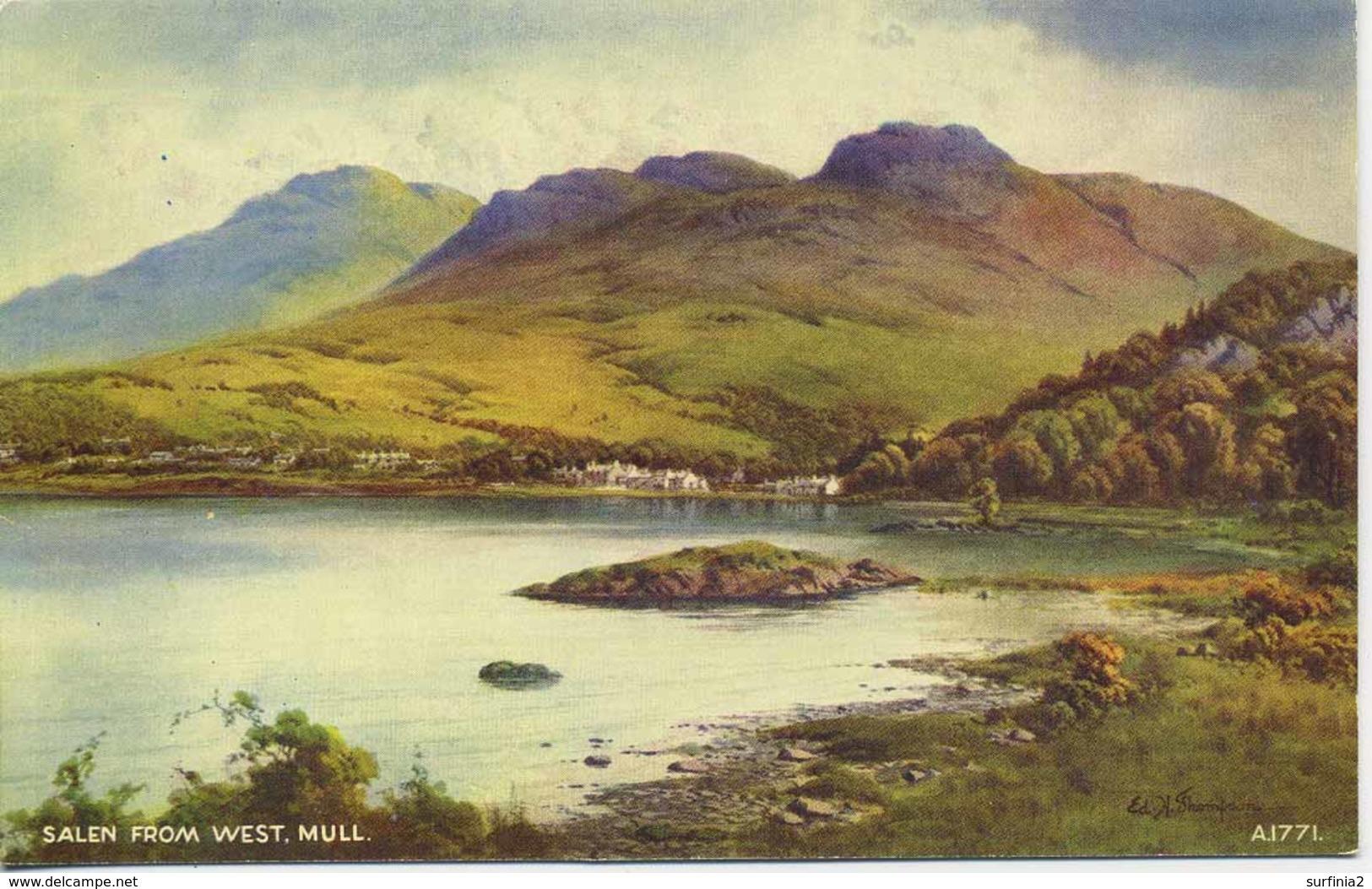 VALENTINES ART  A1771 - SALEN FROM WEST, MULL - E H THOMPSON - Argyllshire