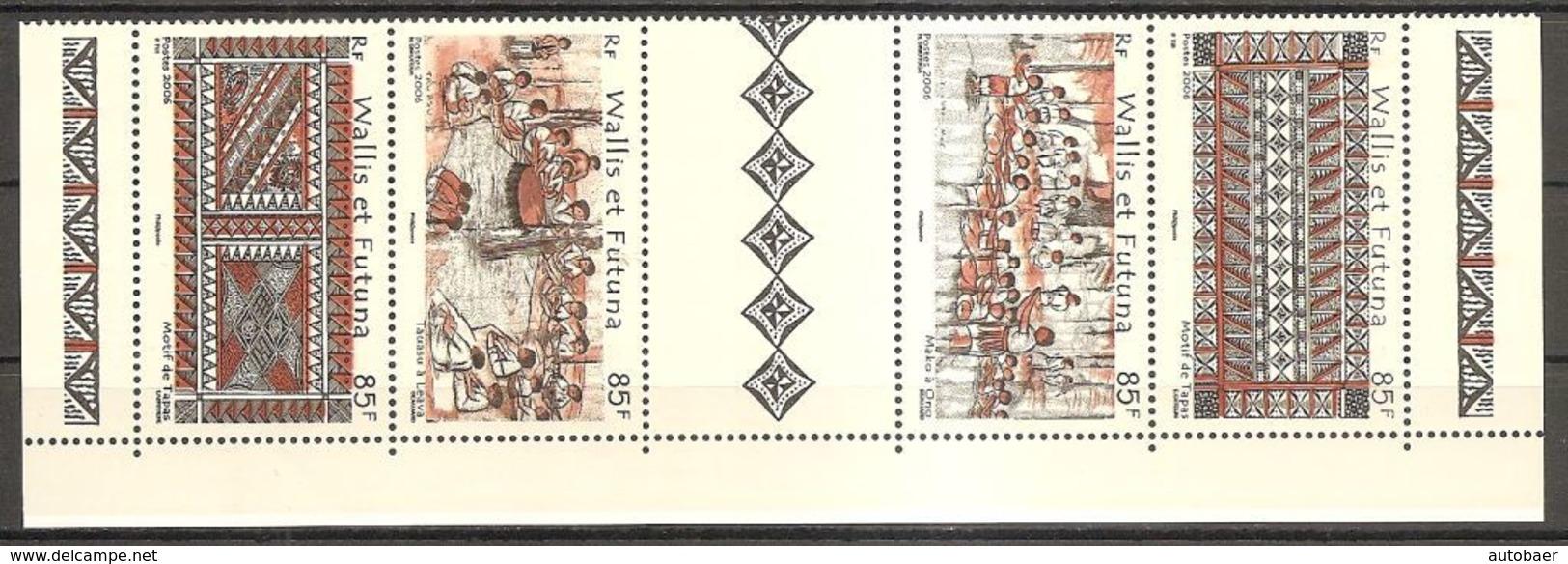 Wallis Und Et Futuna 2006 Tapa Kunst Michel No. 938-41Z Se Tenant Avec Vignette MNH Postfrisch Neuf - Wallis Und Futuna