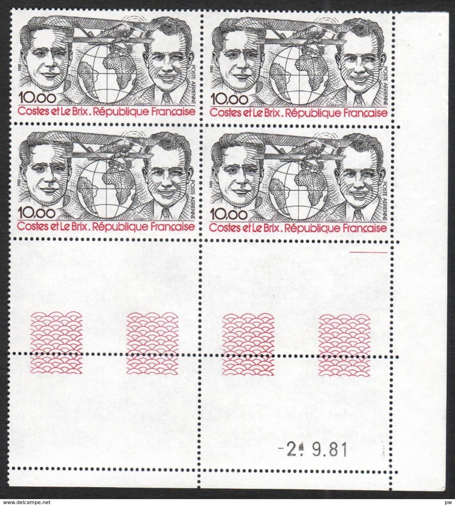 FRANCE 1981 YT Avion N° 55 10,00 COSTES Et LE BRIX Bloc De 4 Coin Daté, Neuf, ** - Poste Aérienne