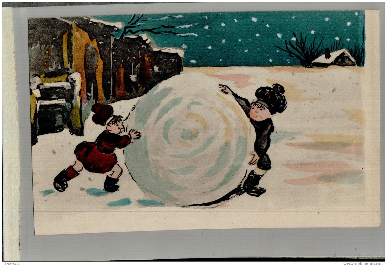 CPA  FANTAISIES  FETES   NOEL Enfants,  La Grosse Boule De NEIGE    JAN 2017 Div 135 - Künstlerkarten