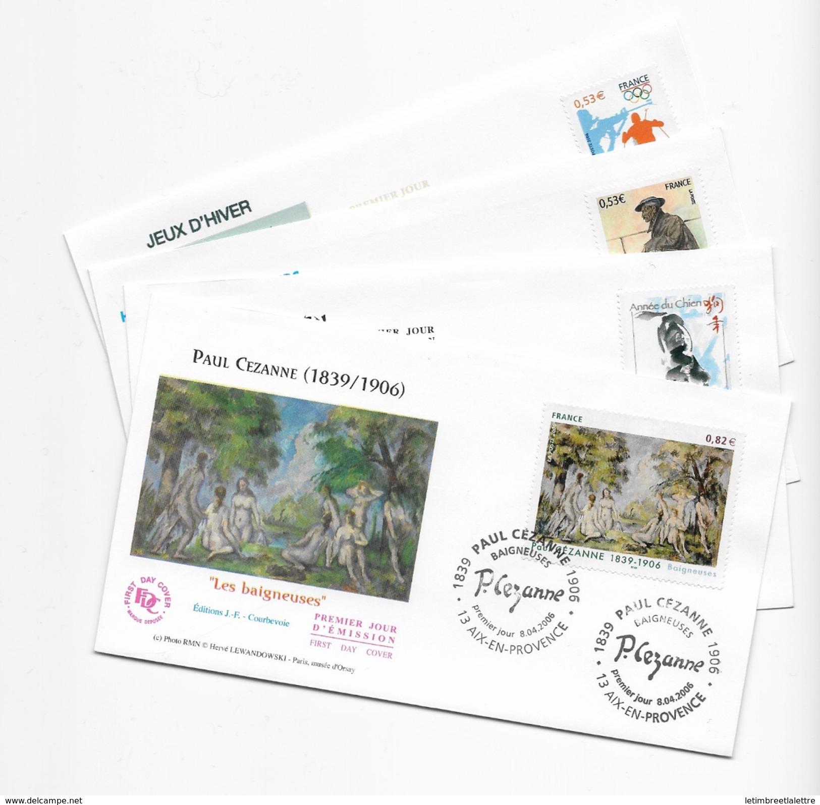 Enveloppes  1er Jour FDC . 2006  4 Enveloppes Cezanne- Année Du Chien-hommage Aux Mineurs-jeux D'hiver - FDC