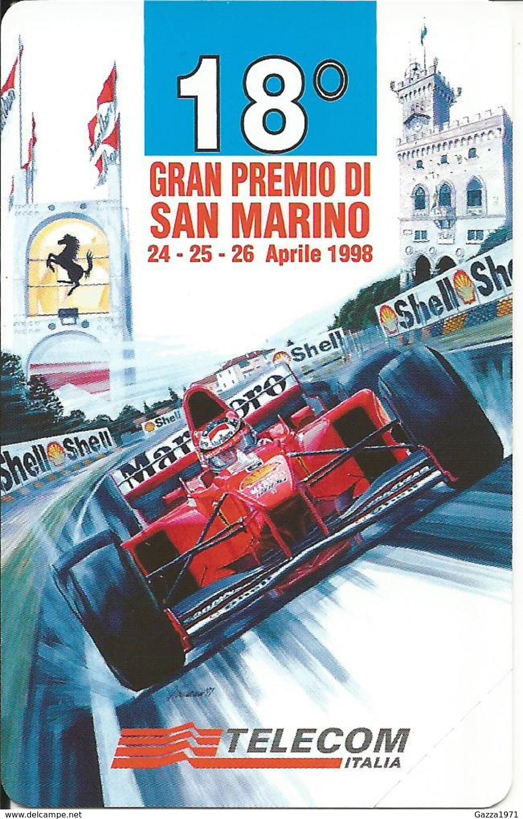 Italia, Automobilismo, Telecom Nuova, 18° Gran Premio Di San Marino 24/26 Aprile 1998. Valore Nominale 10.000 Lire. - Pubbliche Speciali O Commemorative