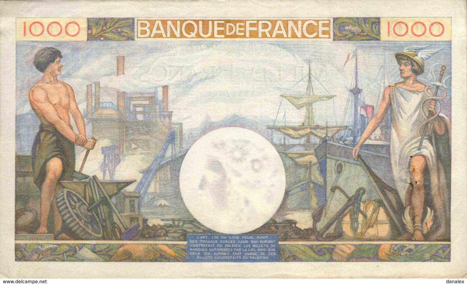 FRANCE 1000 FRANCS Commerce Et Industrie Du 19-12-1940  Pick 96a  F 39/3  AU/SPL - 1871-1952 Circulated During XXth