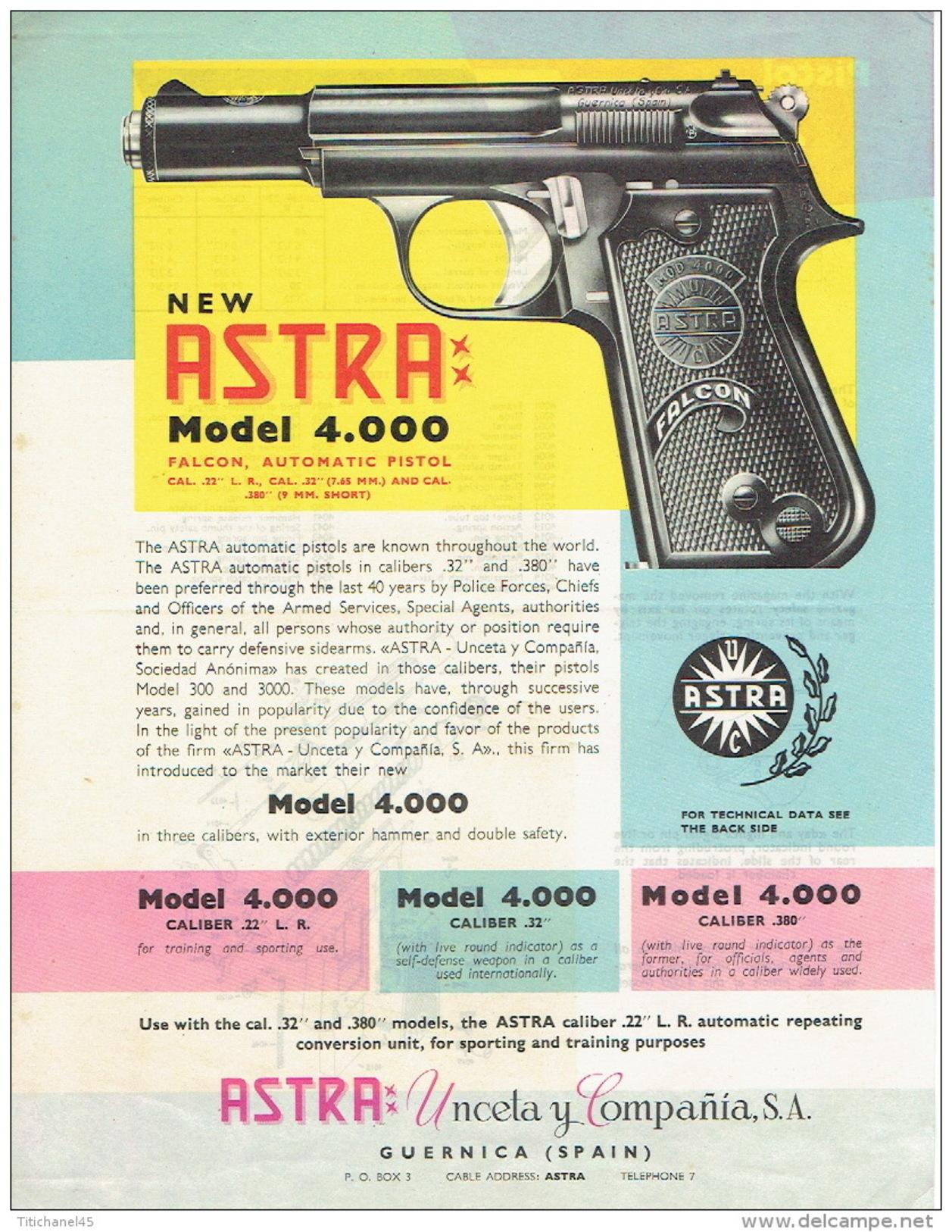 ARMES - Publicité Pistolet ASTRA Modèle 4.000 Falcon Automatic Pistol Cal. 22 L.R. - Cal. .32 - Cal. .380 - Decotatieve Wapens