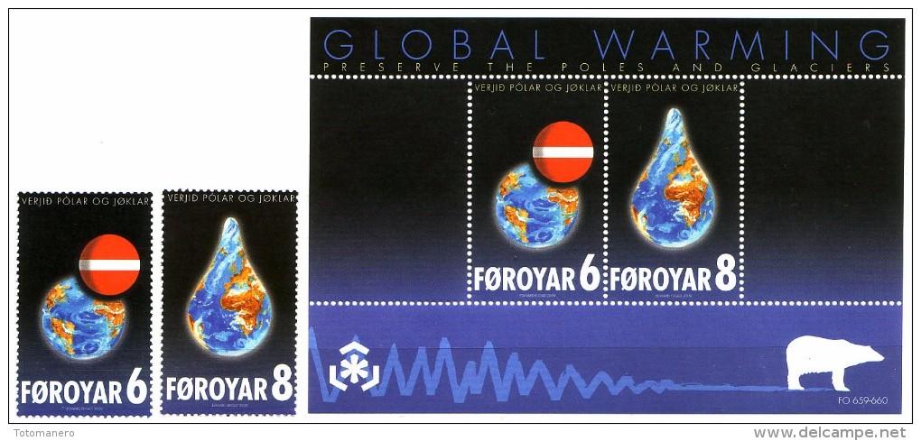 FAROE 2009, IPY - Preserve The Polar Regions And Glaciers Set Of 2v And Block** - Preservare Le Regioni Polari E Ghiacciai