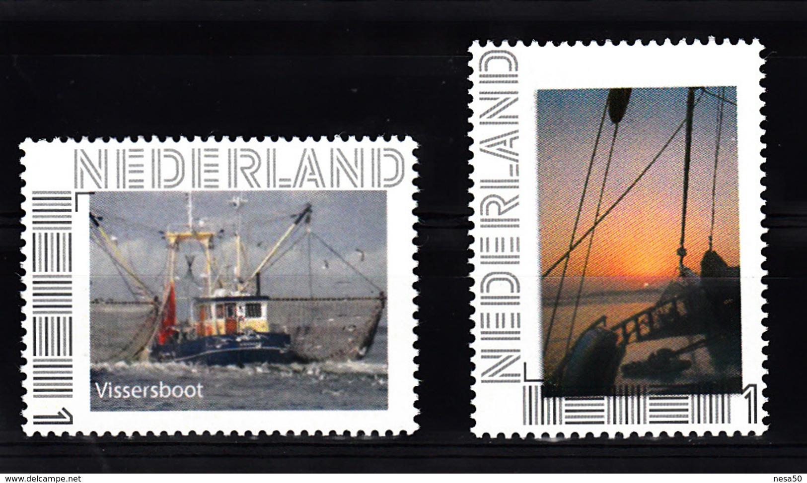Nederland  2017 Persoonlijke Zegel : Thema: Sail Ship: Vissersboot + Zonsondergang Op Een Schip - Period 2013-... (Willem-Alexander)