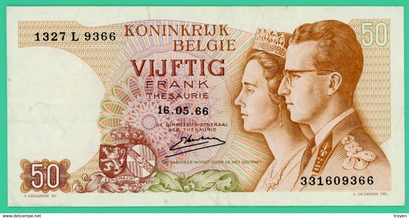 50 Francs - Belgique - 16-05-66 - N° 331609366 - TTB - - [ 6] Staatskas