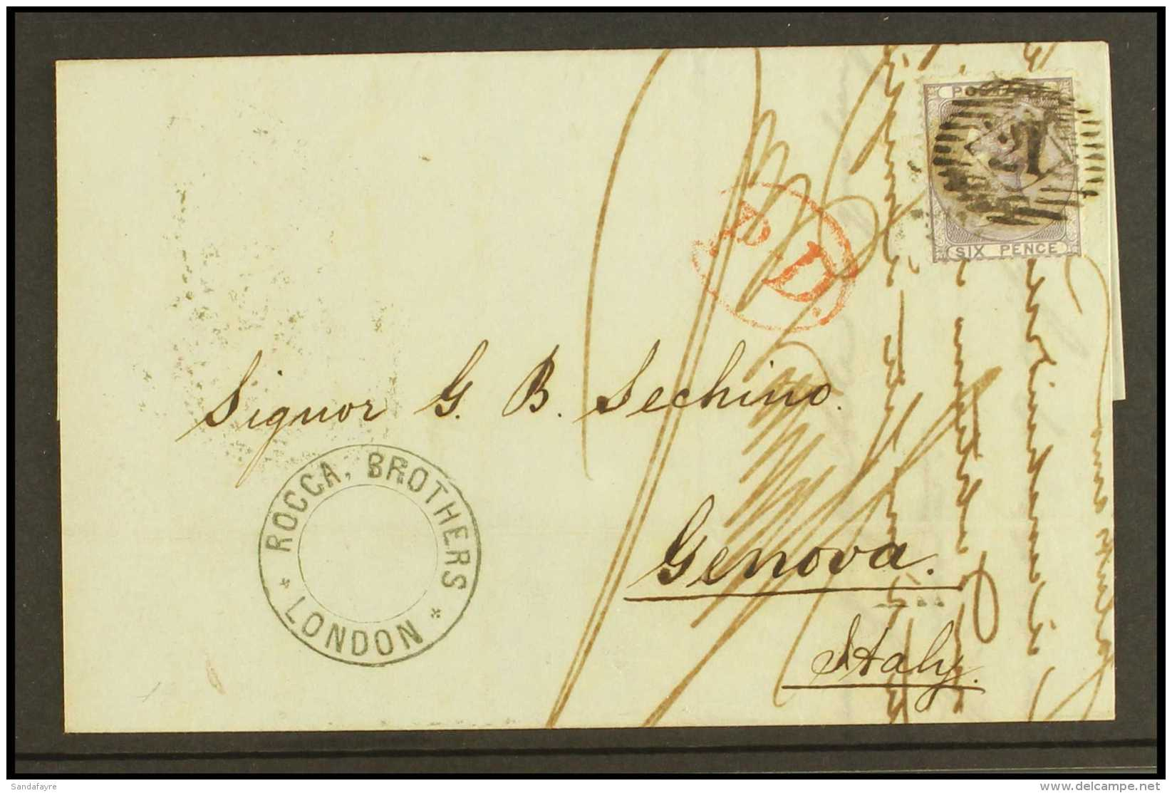 """1858 (25th May) Entire To Genova Bearing 6c Lilac (no Letters) Tied Woolwich London District Cancel Alongisde """"PD""""... - 1840-1901 (Victoria)"""