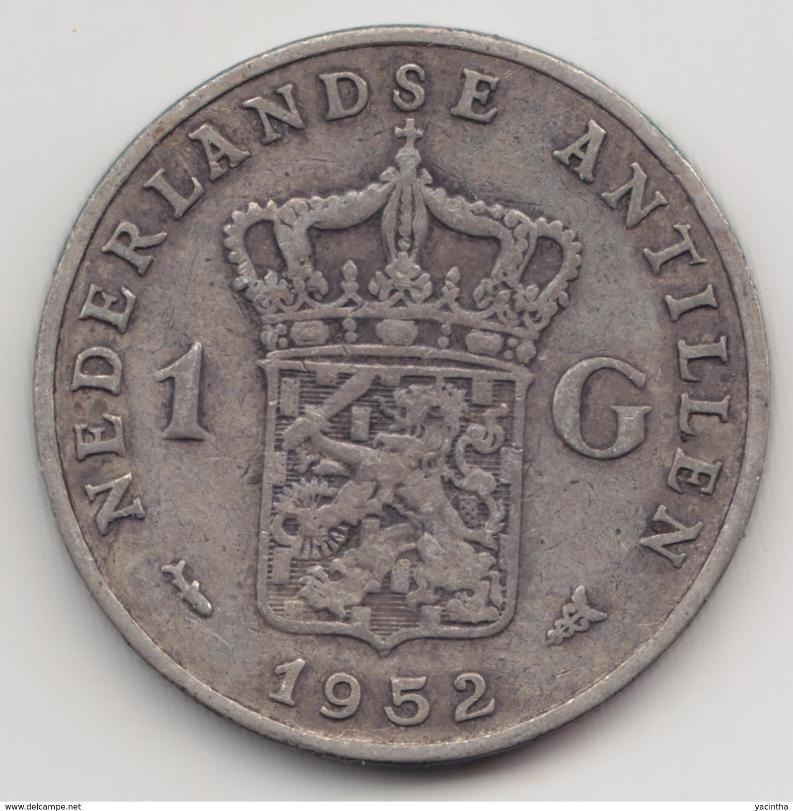 @Y@    Nederlandse Antillen   1 Gulden  1952 ( 4566 )  Zilver - Netherland Antilles