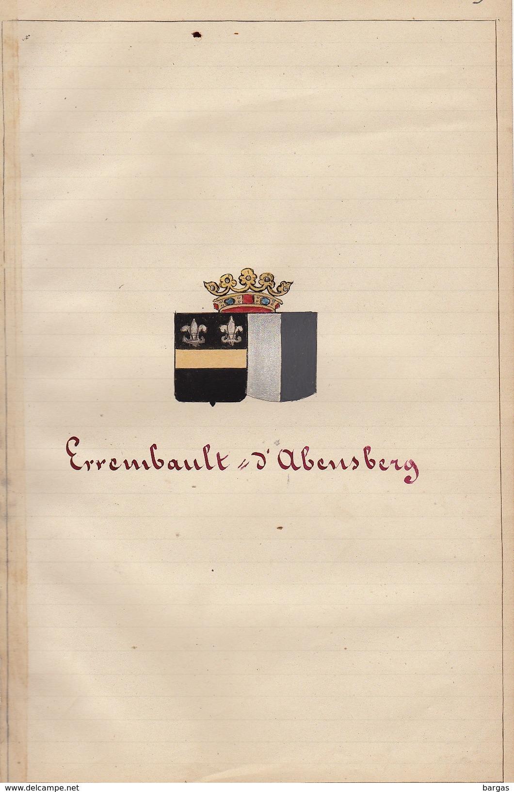 Manuscrit Généalogie Héraldique Errembault Comte De Dudzeele D'Abensberg Comtesse De Traun App. Ayasasa ... - Manuscripts