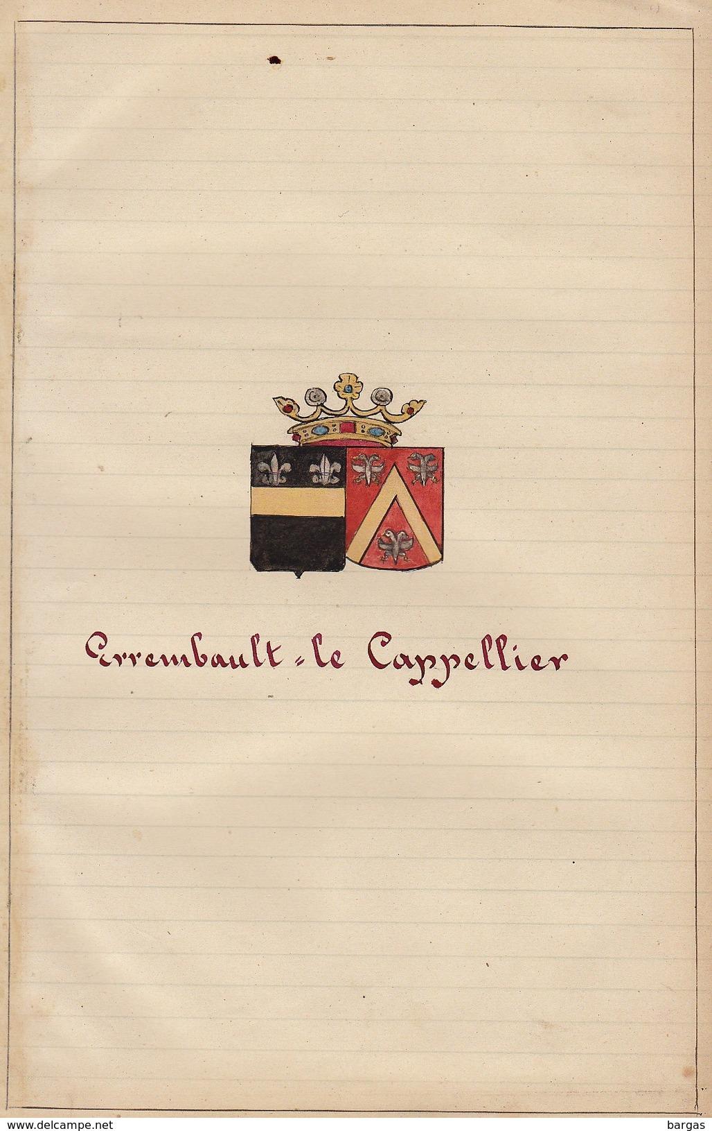 Manuscrit Généalogie Héraldique Errembault Le Cappelier  App.Formanoir Desmons De Bachy D'Hovynes Godebrie ... - Manuscripts