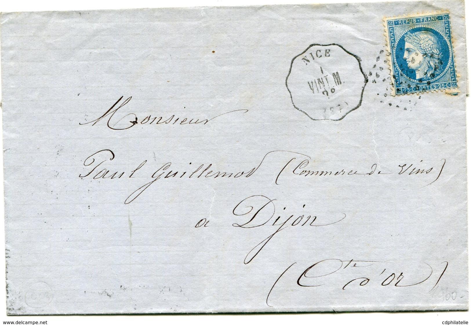 FRANCE LETTRE AFFRANCHIE AVEC UN N°60A DEPART NICE VINT. M. 78 POUR LA FRANCE - Marcophilie (Lettres)