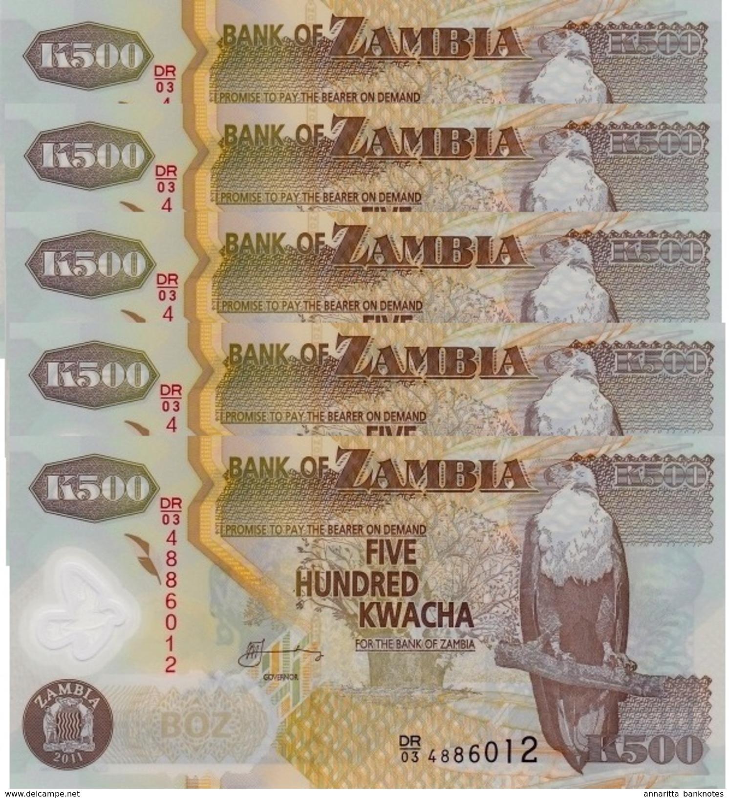 ZAMBIA 500 KWACHA 2011 P-43h UNC 5 PCS  [ZM145h] - Zambia