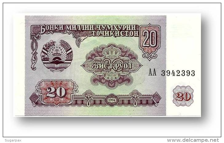 TAJIKISTAN - 20 Rubles - 1994 - Pick 4 - UNC - Serie  AA ( AA ) - The National Bank Of The Republic - Tayikistán