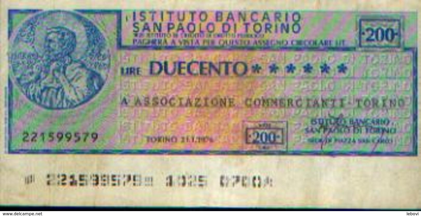 ITALIE « Institut Bancaire Saint-Paul De TURIN » : 200 Lires (21.01.1976) - [ 2] 1946-… : Républic
