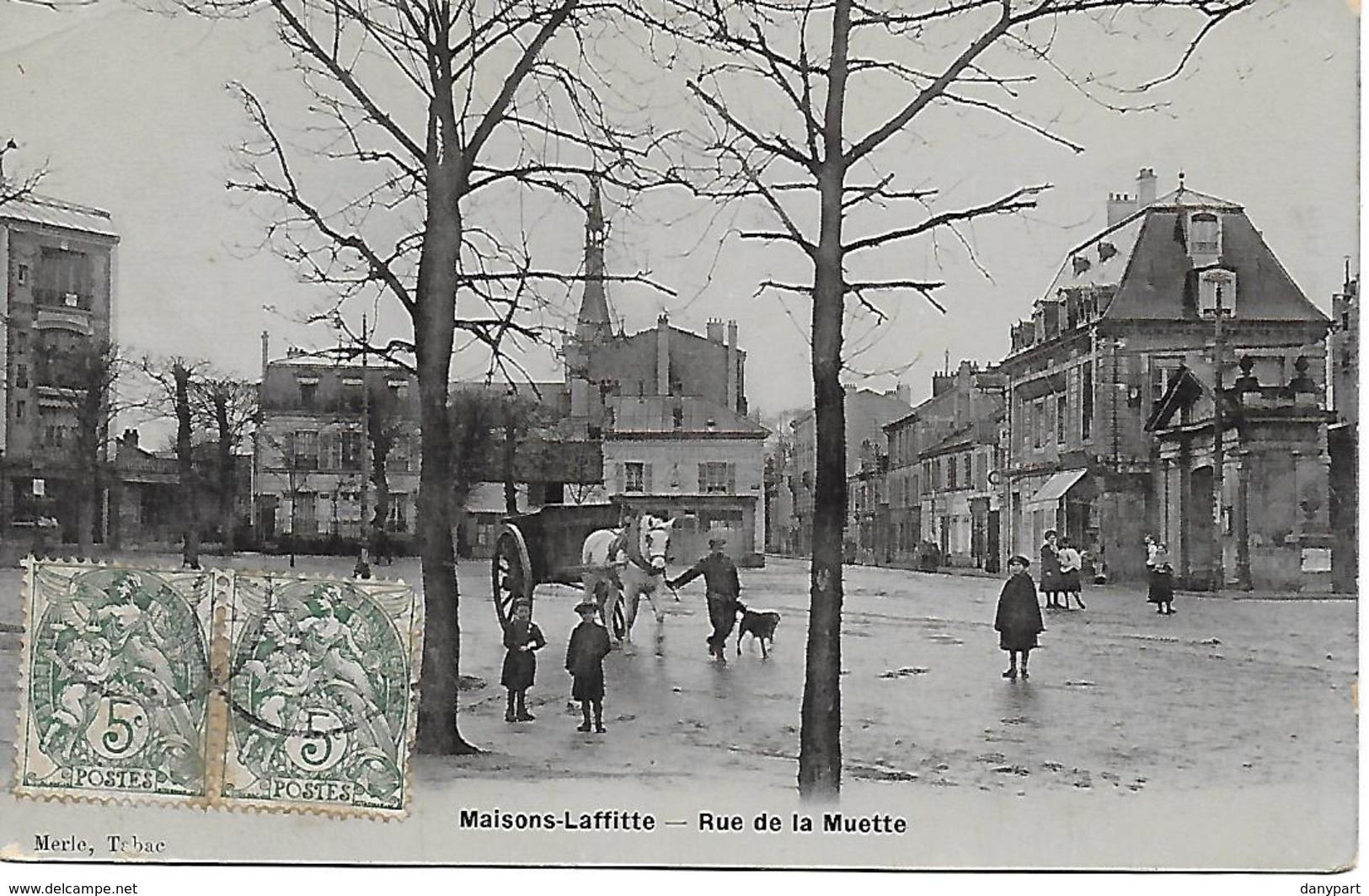 MAISONS LAFFITTE - RUE DE LA MUETTE ANIMEE RARE CARTE PHOTO émail Breger Edit.Merle Tabac 1900/1910 - Maisons-Laffitte