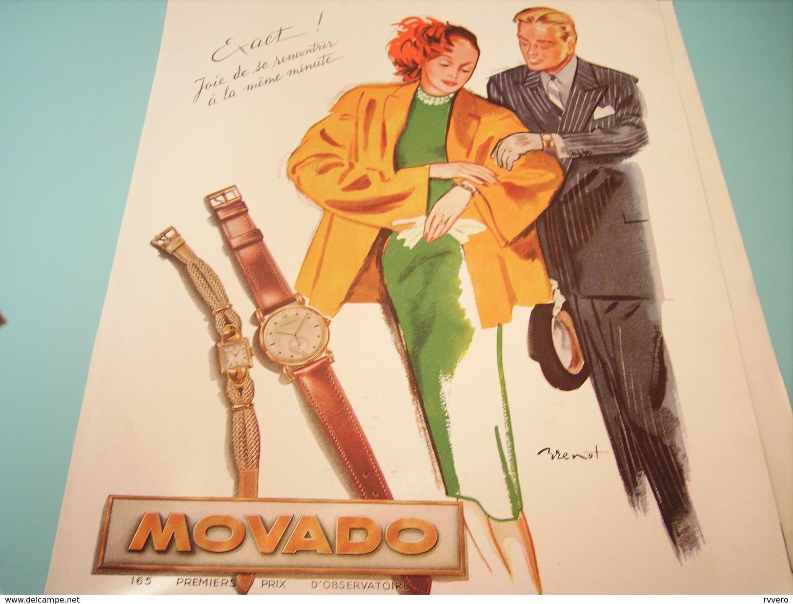 ANCIENNE PUBLICITE MONTRE MOVADO - Bijoux & Horlogerie