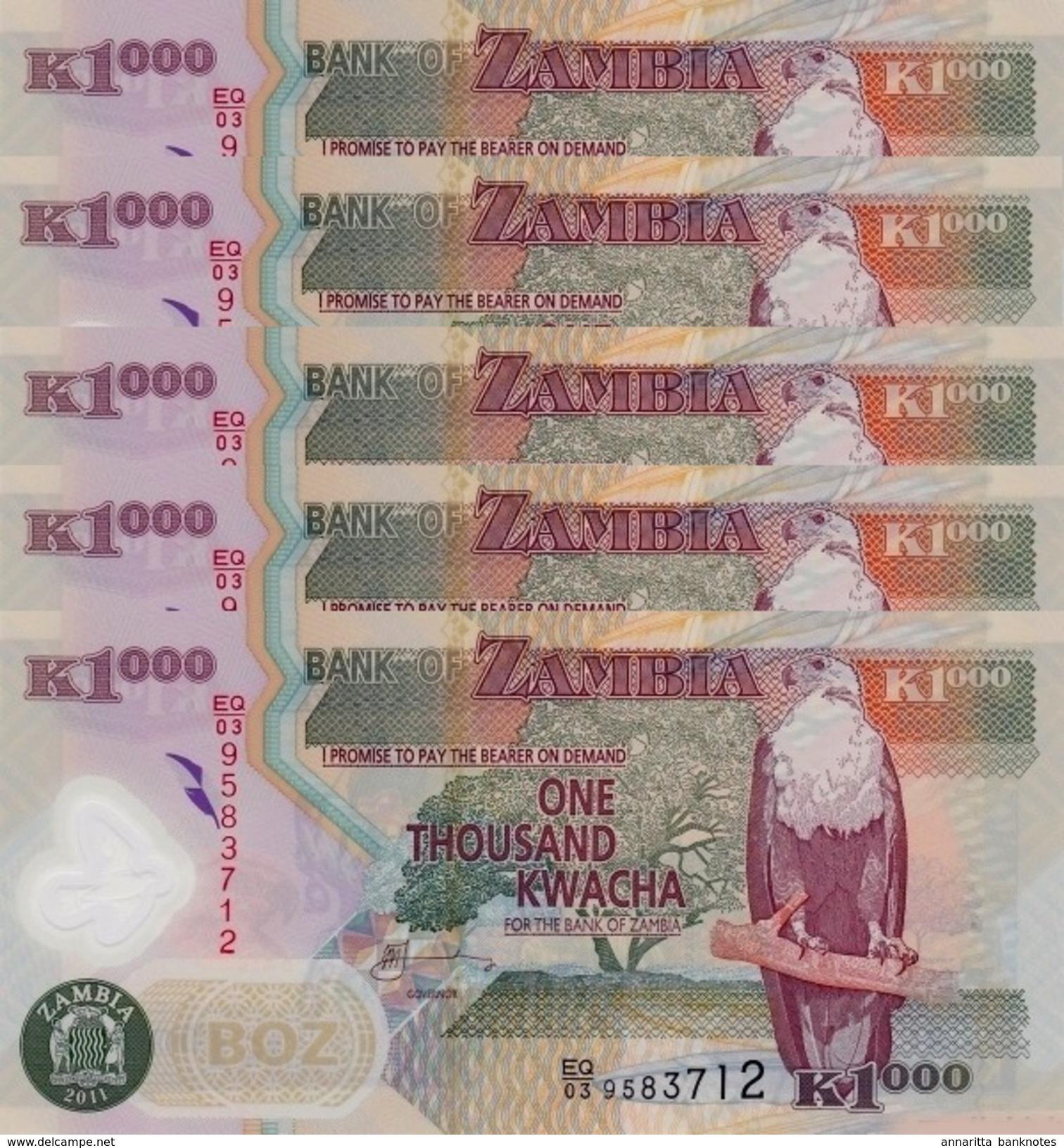 SAMBIA 1000 KWACHA 2011 P-44h I (BFR)  5 PCS [ZM146h] - Zambia