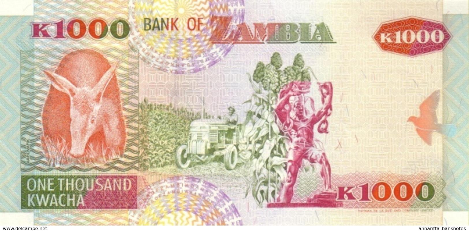 ZAMBIE 1000 KWACHA 1992 (1996) P-40a NEUF [ZM141a] - Zambia