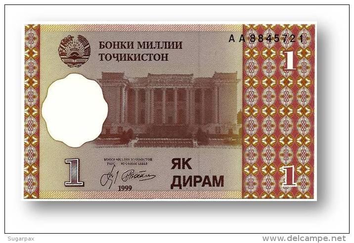 TAJIKISTAN - 1 Diram - 1999 ( 2000 ) - Pick 10 - UNC - Serie  AA - National Bank Of Tajikistan - Tajikistan