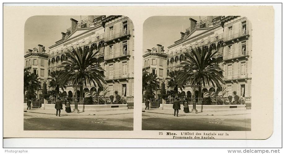 France Nice Hotel Et Promenade Des Anglais Ancienne Photo Stereo NPG 1905 - Stereoscopic