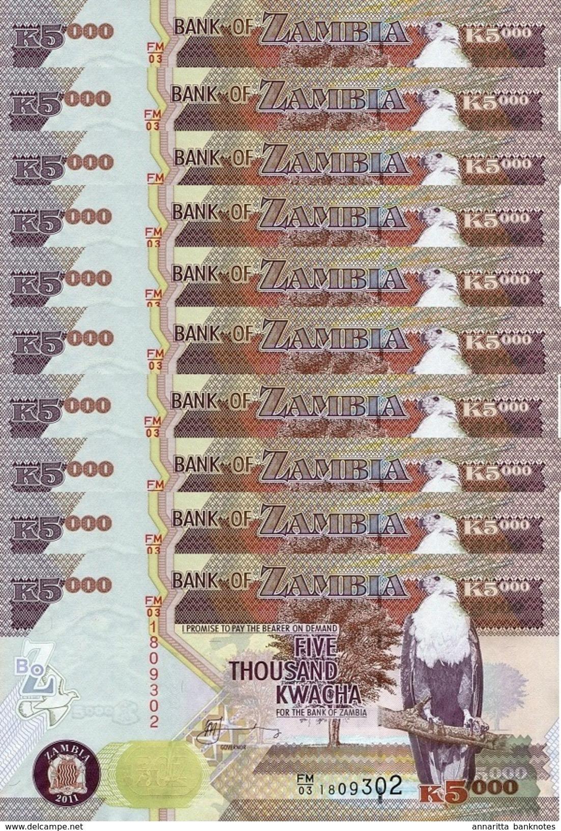 ZAMBIA 5000 KWACHA 2011 P-45g UNC 10 PCS [ZM147g] - Zambia