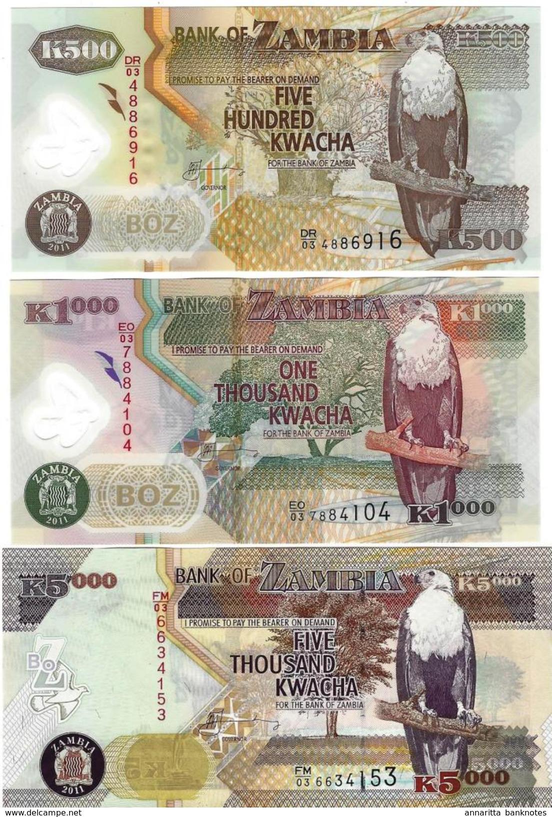ZAMBIE 500 1000 5000 KWACHA 2011 P-43h 44h 45g NEUF SET [ZM145h 146h 147g] - Zambia
