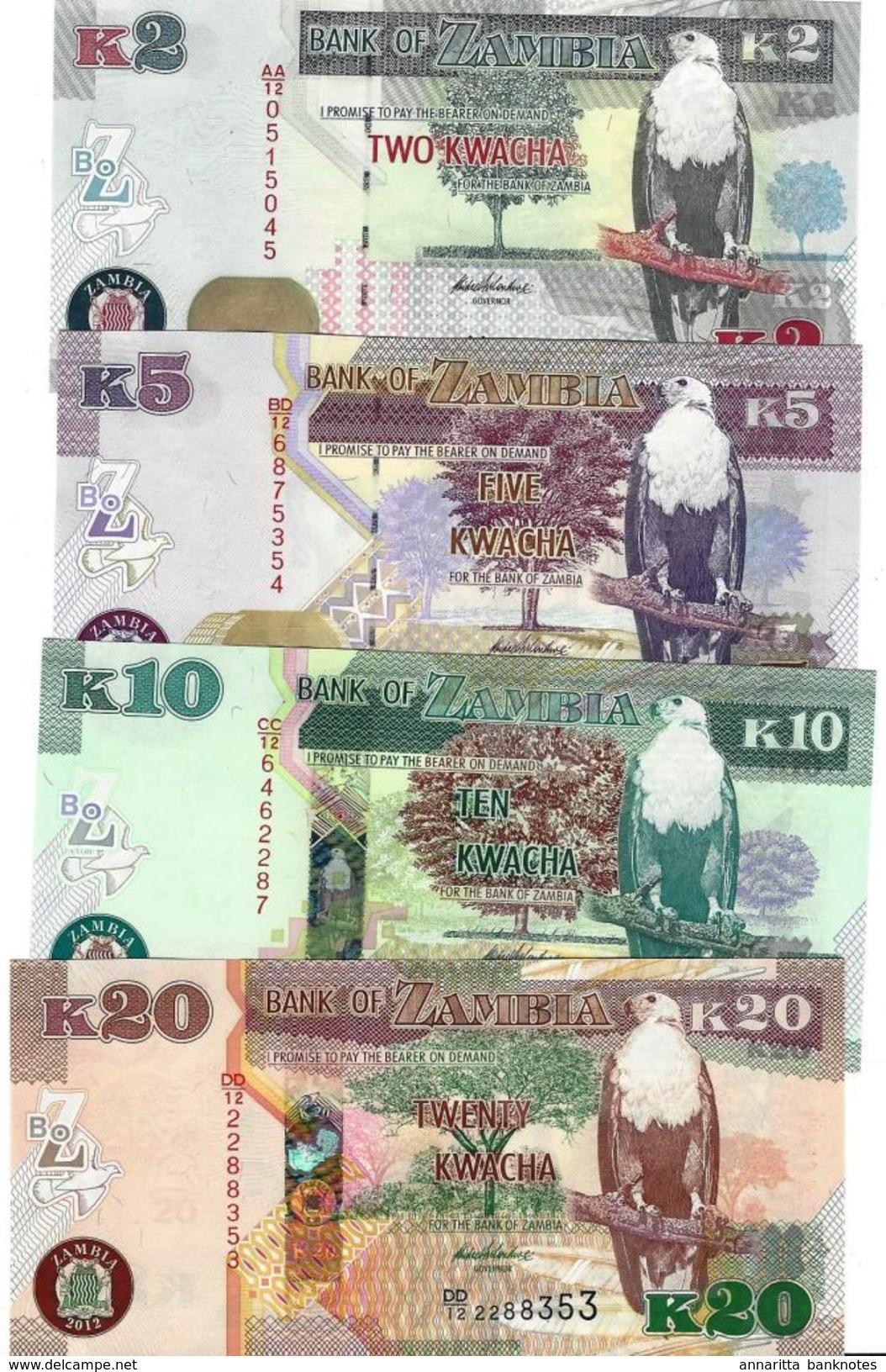 ZAMBIA 2 5 10 20 KWACHA 2012 (2013) P-49a 50a 51a 52a UNC SET [ZM152a-155a] - Zambia