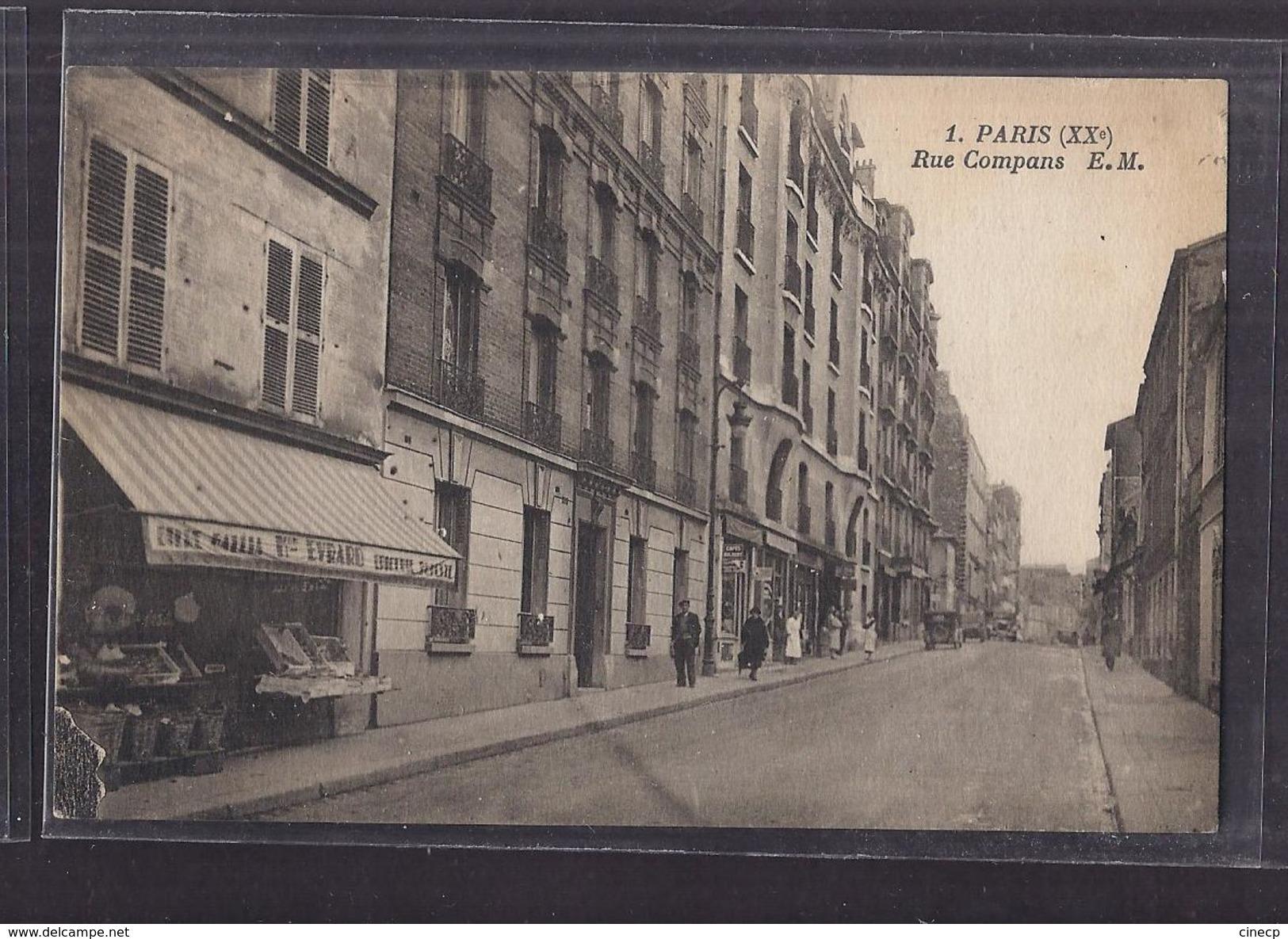 CPA 75 - PARIS - XXème Arrondissement - Rue Compans - TB PLAN De RUE ANIMATION MAGASINS - Arrondissement: 20