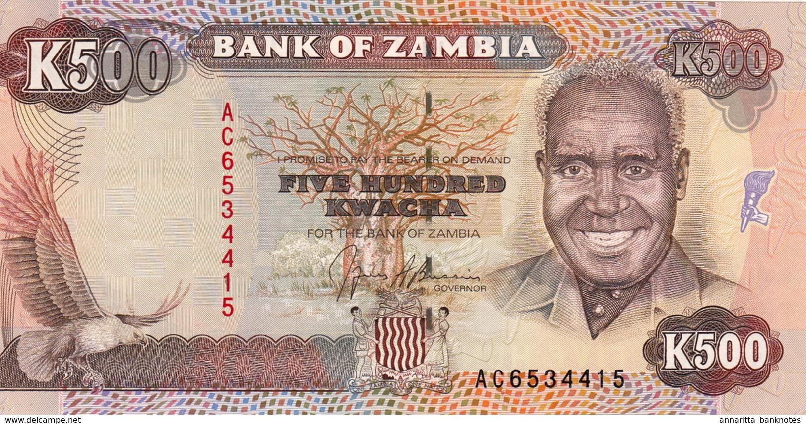 *  ZAMBIA 500 KWACHA ND (1991) P-35 UNC [ZM136a] - Zambia
