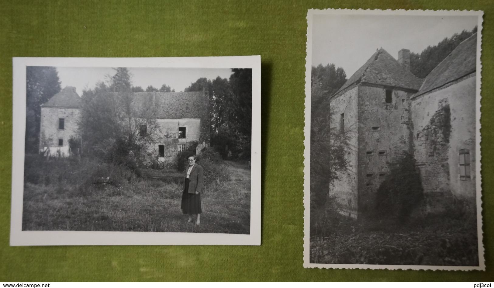 Lot De 2 Photos Années 1950 - Château En Ruine à Villiers Aux Corneilles (Marne) - Lieux
