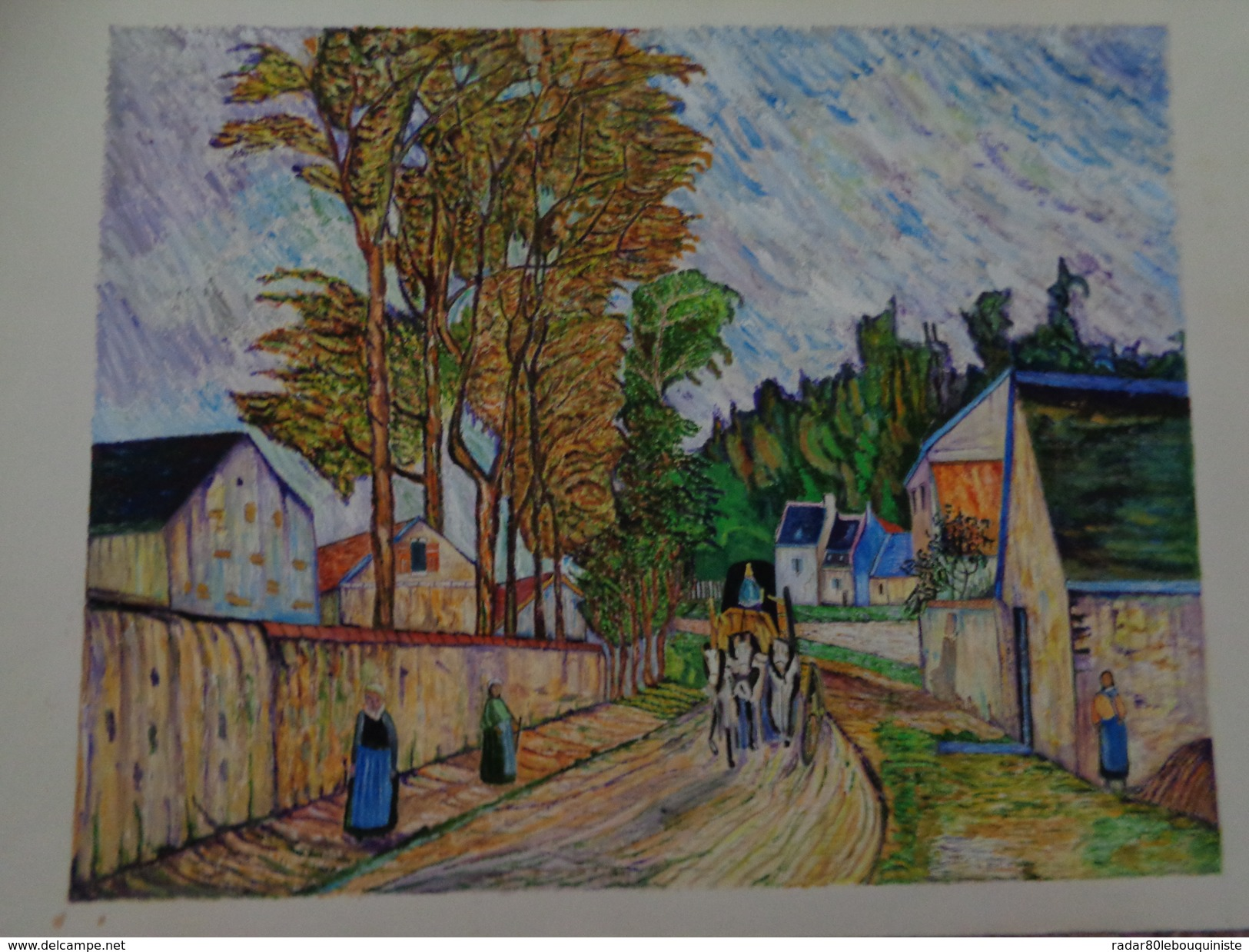 La Route D'Ennery.D'après Camille Pissaro.la Feuille:500 X 328 Mm.Acrylique Sur Papier Par Debeaupuis.1969 - Acryliques