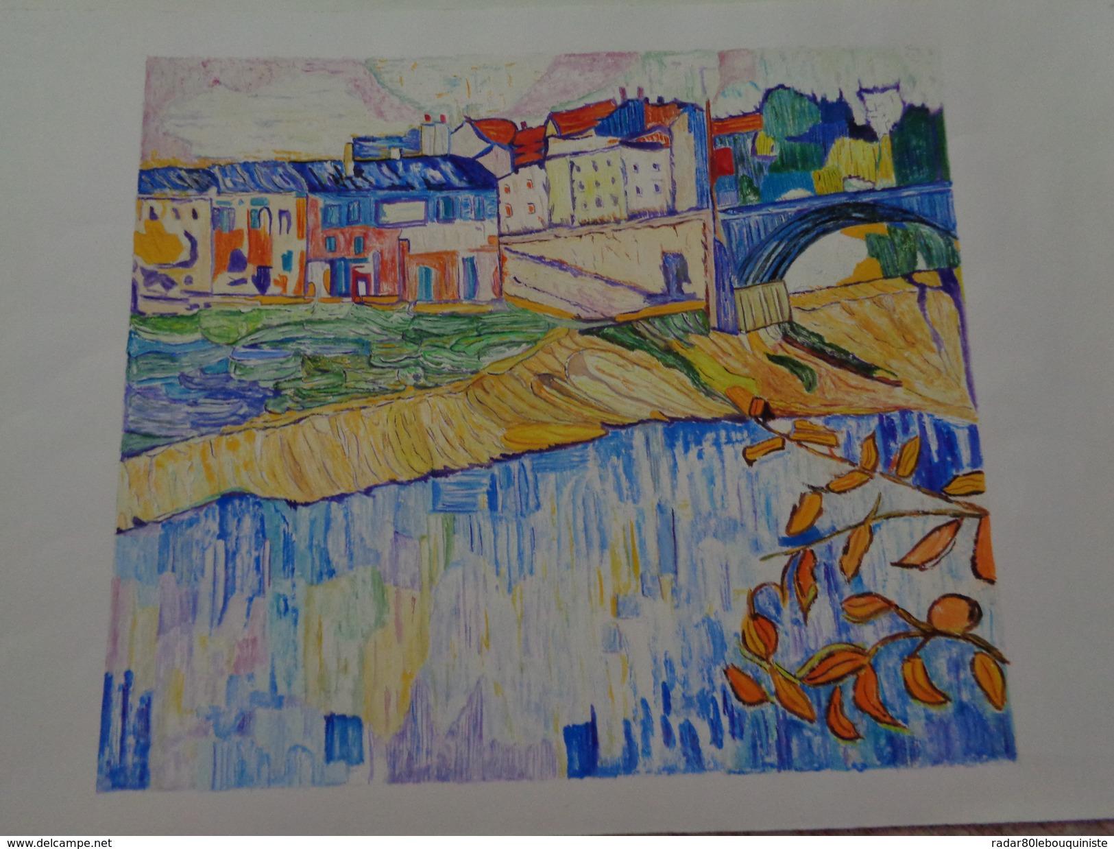 Le Pont De Chatou.D'après Maurice De Vlaminck. La Feuille:500 X 325 Mm.Acrylique Sur Papier Par Debeaupuis.1970. - Acryliques