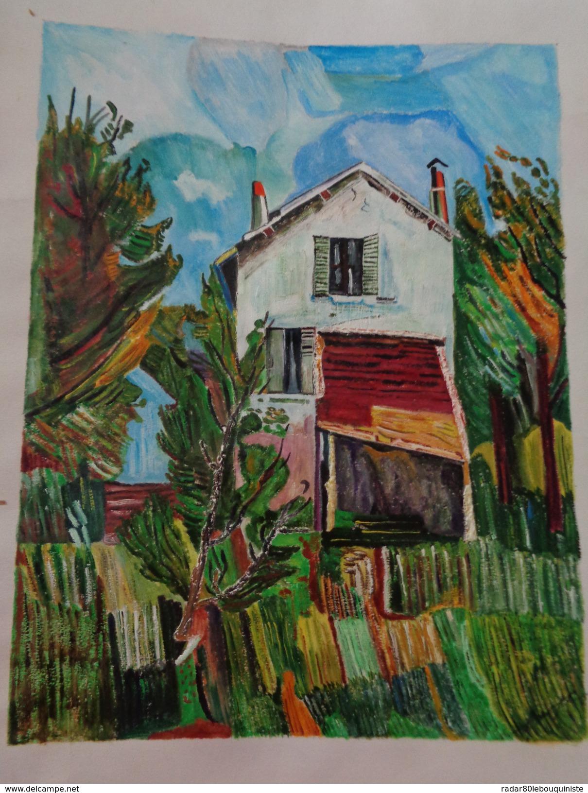 La Maison à L'auvent.D'après Vlaminck .la Feuille:420 X 325 Mm.Acrylique Sur Papier Par Debeaupuis.1968 - Acryliques