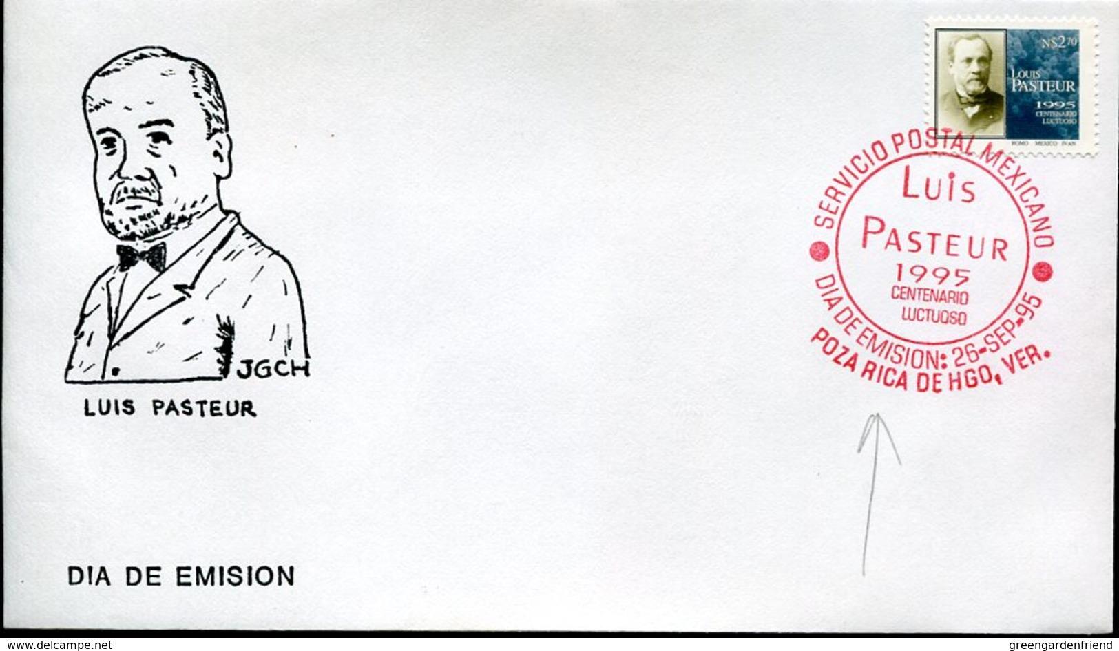 18070 Mexico,  Fdc  1995  Louis Pasteur,   Postmark Of POZA RICA DE HGO, VER. - Louis Pasteur