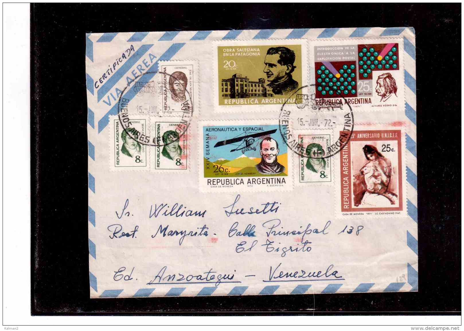 "TEM8770    -  POSTAL HISTORY    ""  ARGENTINA  ""  /     REGISTERED   AIR MAIL    LETTER  TO   VENEZUE     ON    15.6.1972 - Argentina"