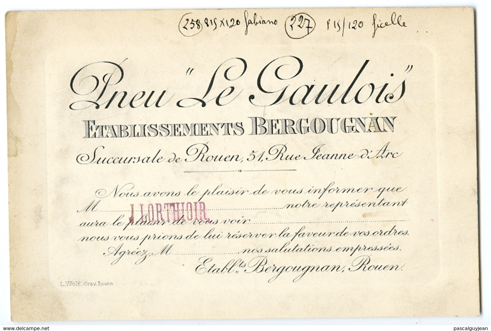 CARTE DE VISITE PNEU LE GAULOIS - ETABLISSEMENTS BERGOUGNAN, ROUEN - Tarjetas De Visita