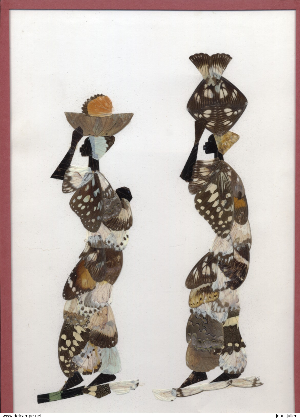 TABLEAU  - CADRE  -  Sous Verre Réalisé Avec Des Ailes De Papillons   -   2 Personnages - Assez Rare - Art Africain
