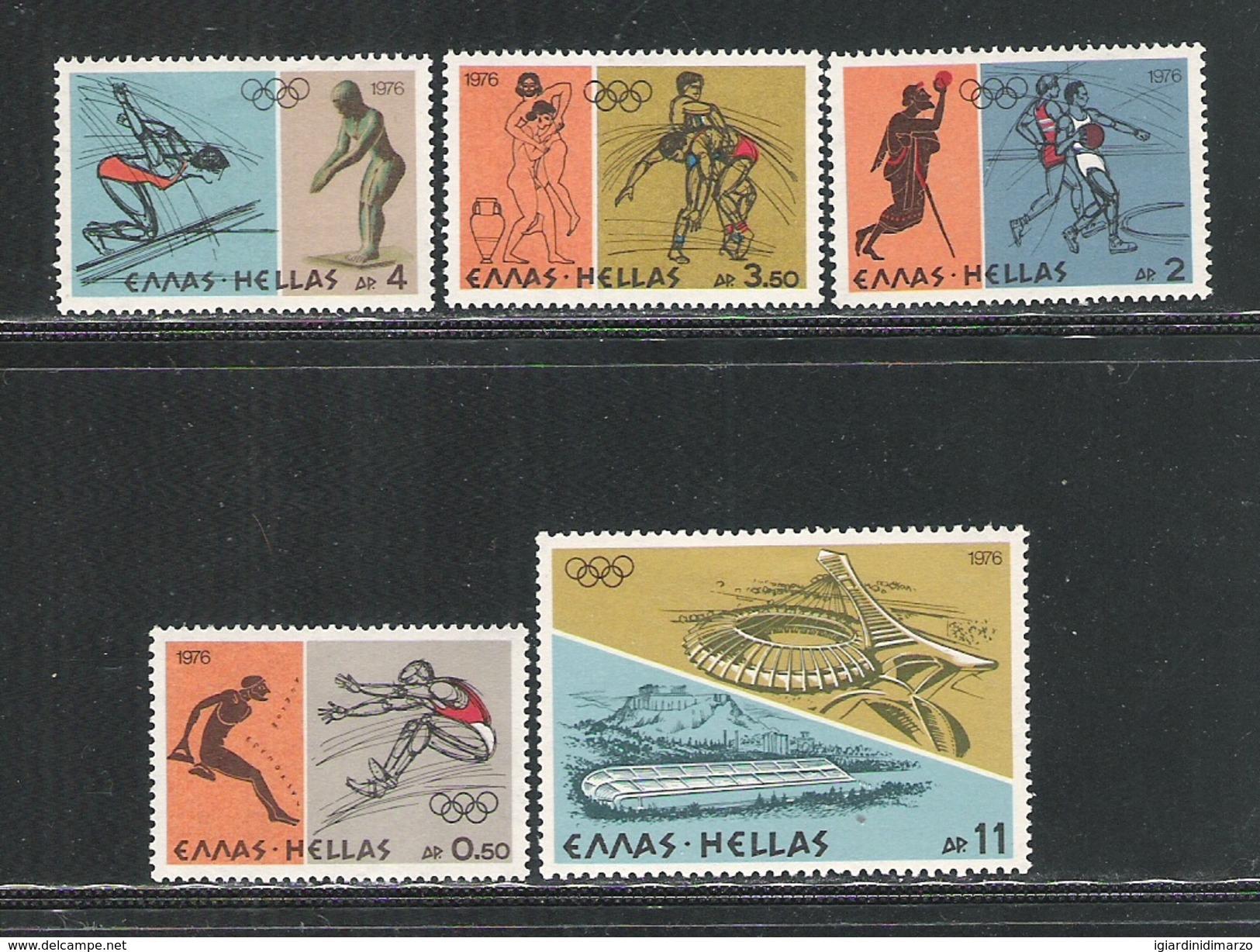 GRECIA - 1976: 6 VALORI NUOVI STL DEDICATI AI GIOCHI OLIMPICI DI MONTREAL - IN OTTIME CONDIZIONI. - Estate 1976: Montreal