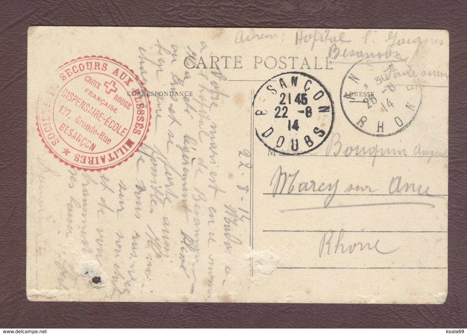 Franchise Militaire Service Santé * Croix Rouge Française Dispensaire - Ecole  Besançon Hôpital Militaire 1914 - 1918 - Documents Historiques