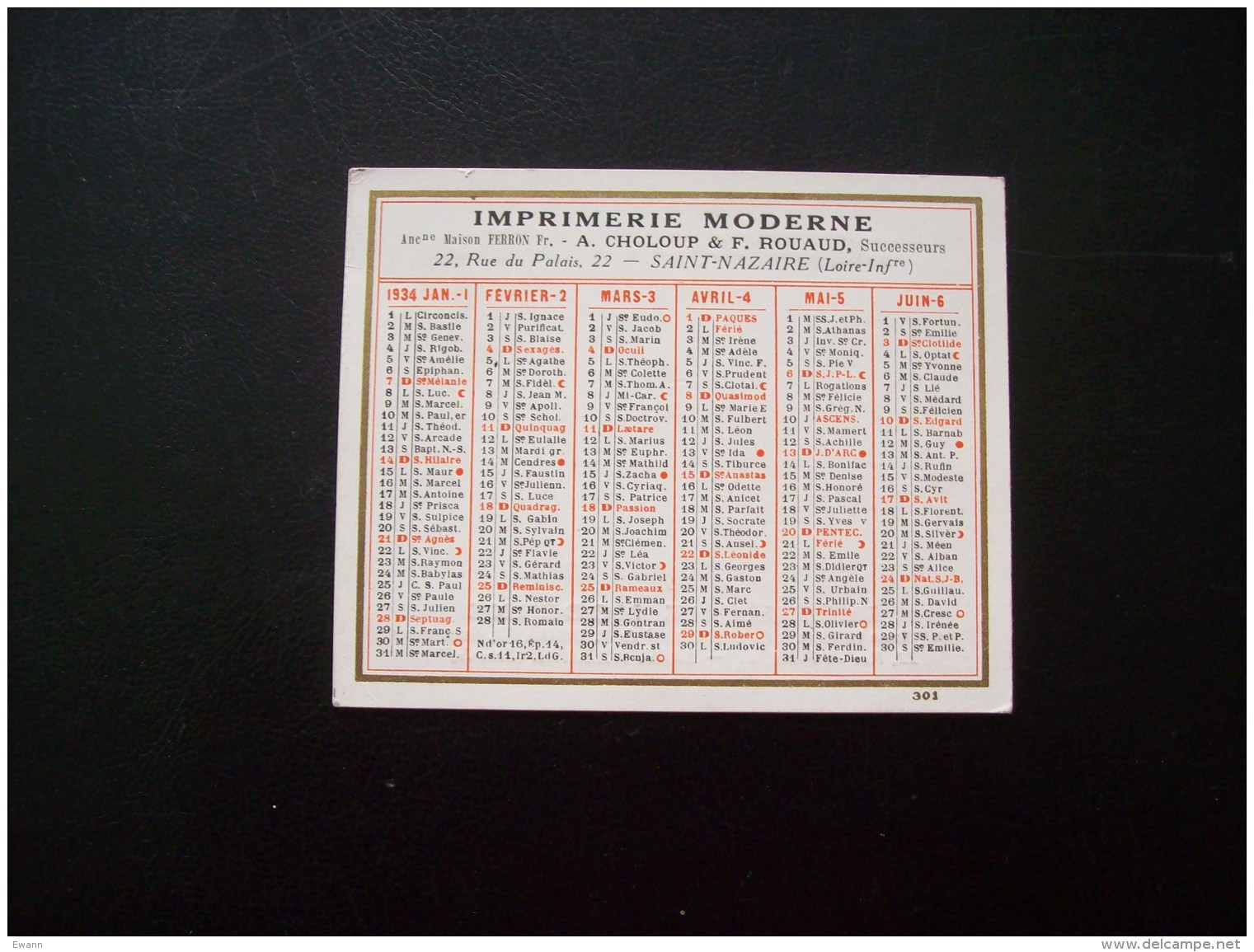 Calendrier Publicitaire De 1934- Imprimerie Moderne, Rue Du Palais, St-Nazaire (44) - Kalenders