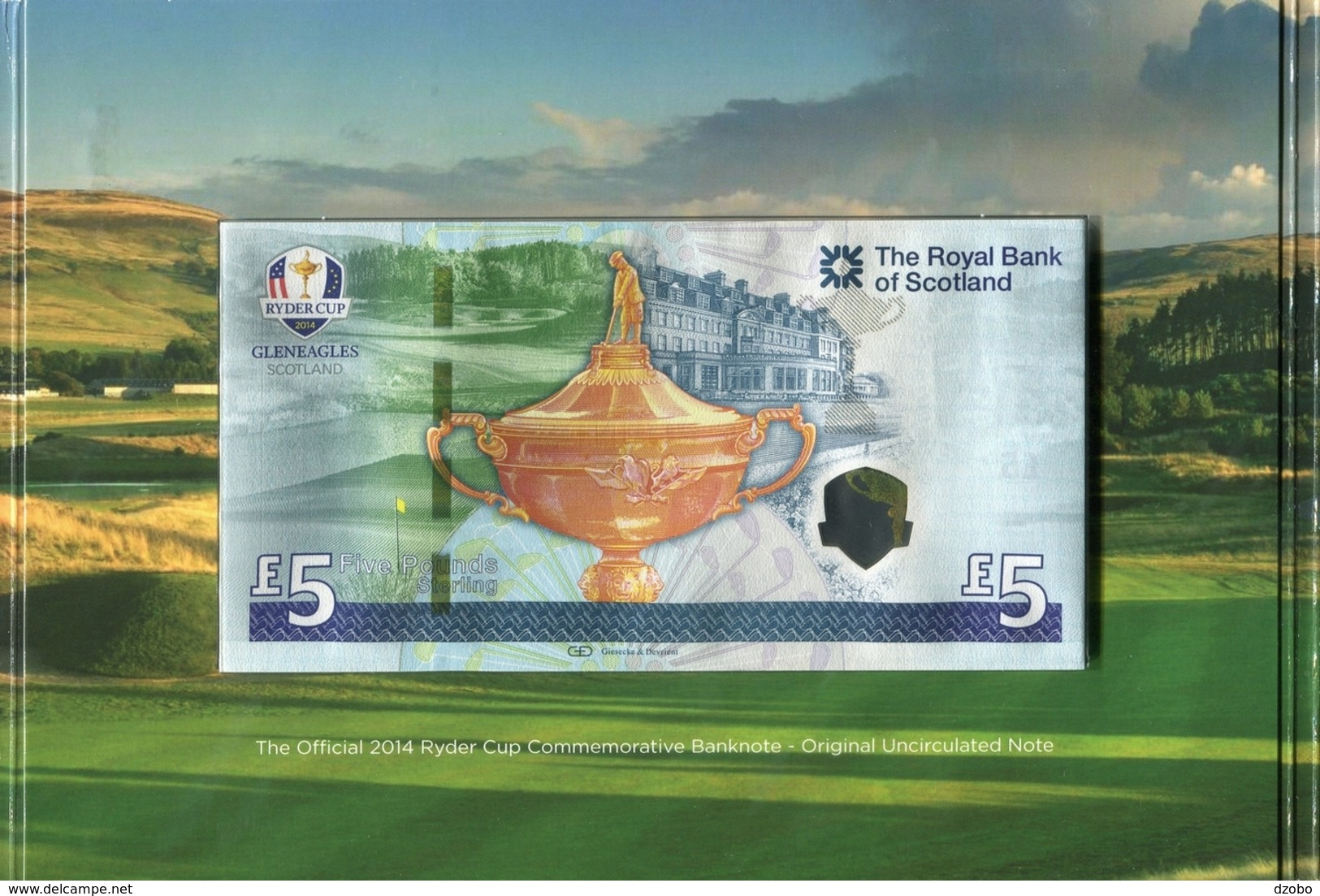 302 GREAT BRITAIN POLYMER The Royal BANK Of Scotland 5 Pounds Sterling With Folder Ryder Cup UNC 2014 - [ 3] Scotland
