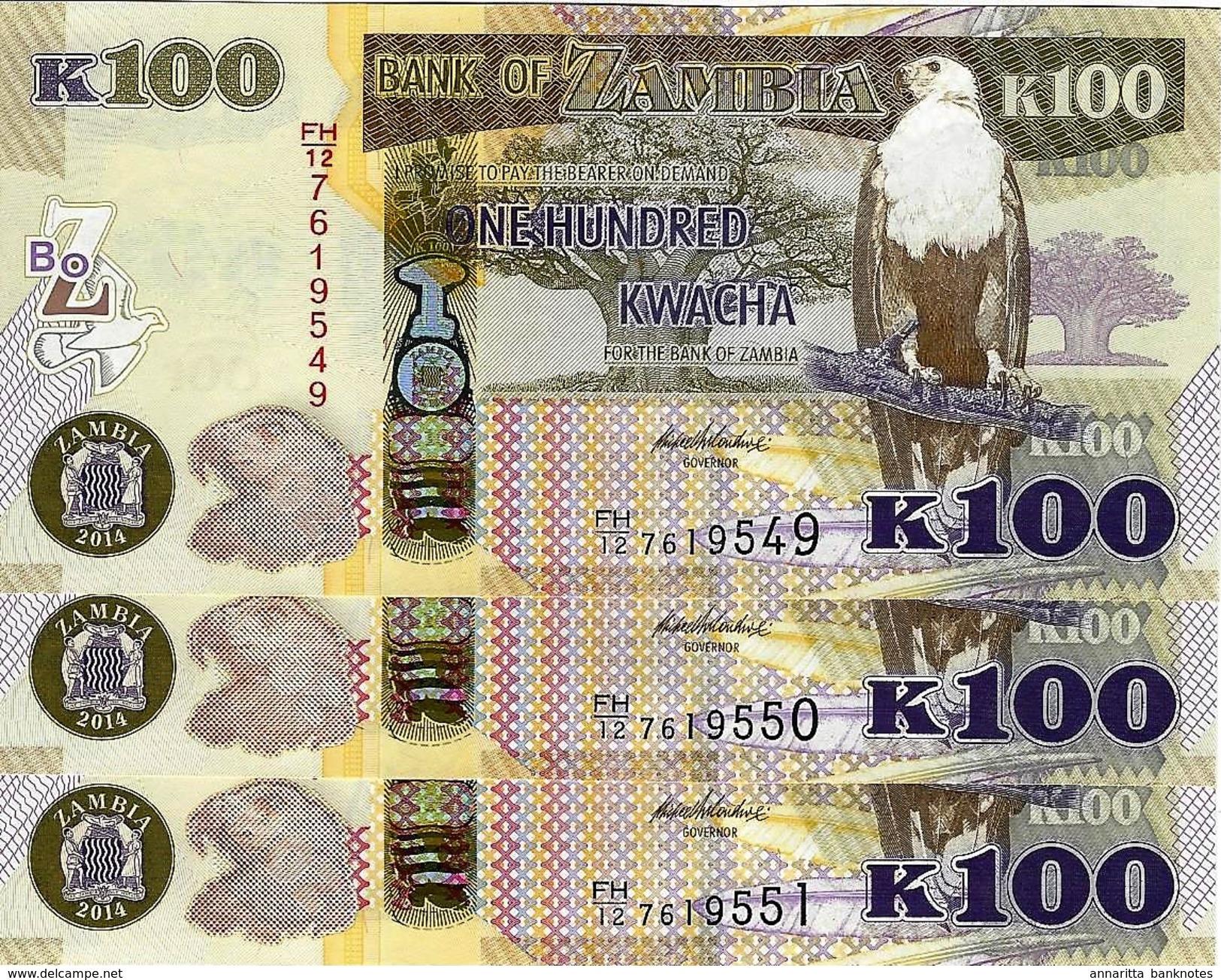 ZAMBIA 100 KWACHA 2014 P-54c UNC 3 PCS [ZM157c] - Zambia