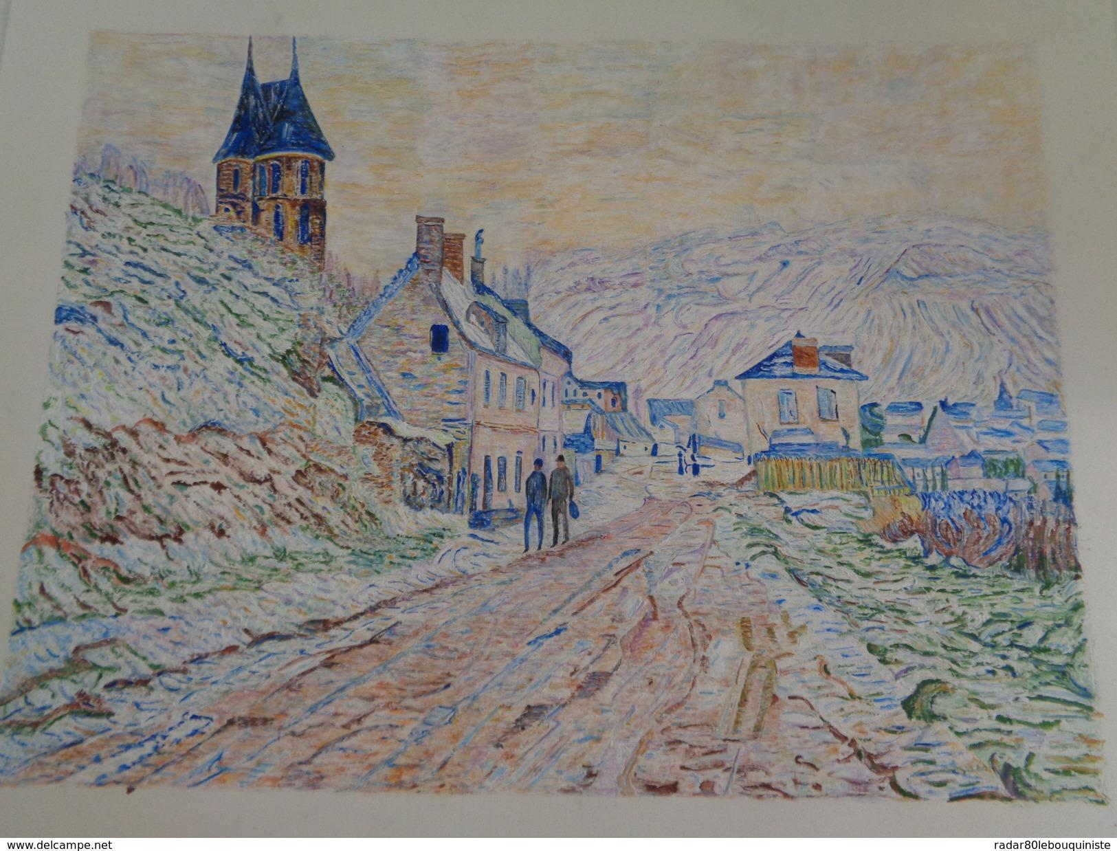 Entrée De Village à Vétheuil Sous La Neige.D'après Claude Monet.feuille:560 X 432 Mm.Acrylique Sur Papier Par Debeaupuis - Acryliques
