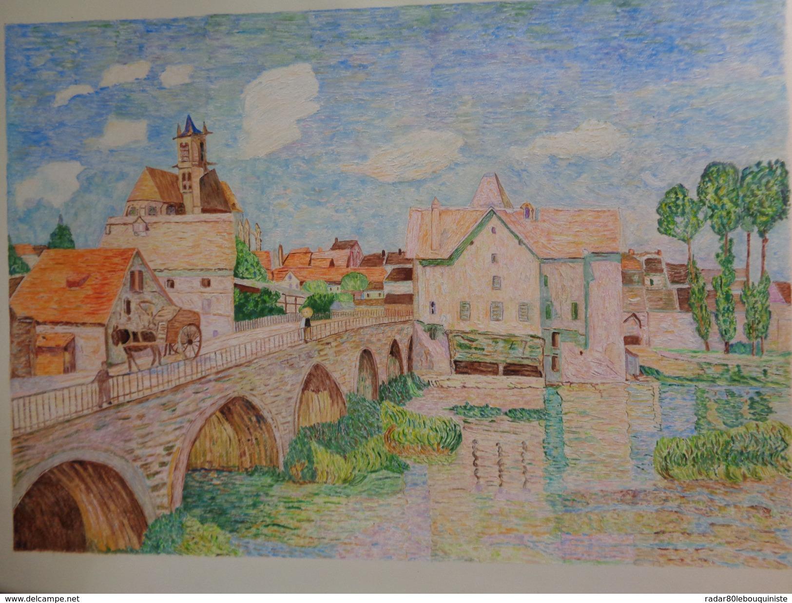 Le Pont De Moret.D'après Alfred Sisley.la Feuille:600 X 450 Mm.Acrylique Sur Papier Par Debeaupuis.1979 - Acryliques