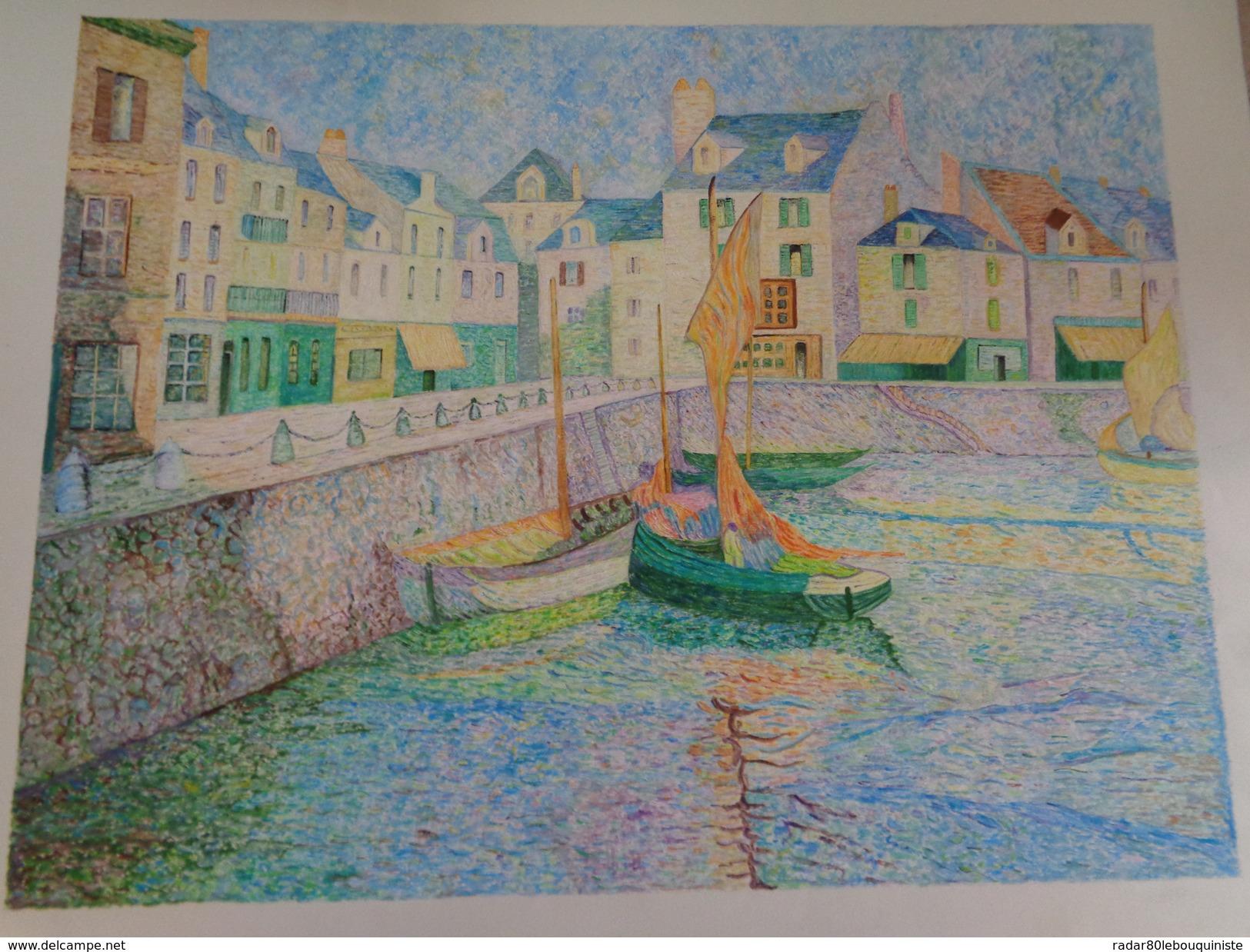 Le Port -bassin Du Croisic Au Soleil.D'après Le Sidaner.la Feuille:590 X 460 Mm.Acrylique Sur Papier Par Debeaupuis - Acryliques