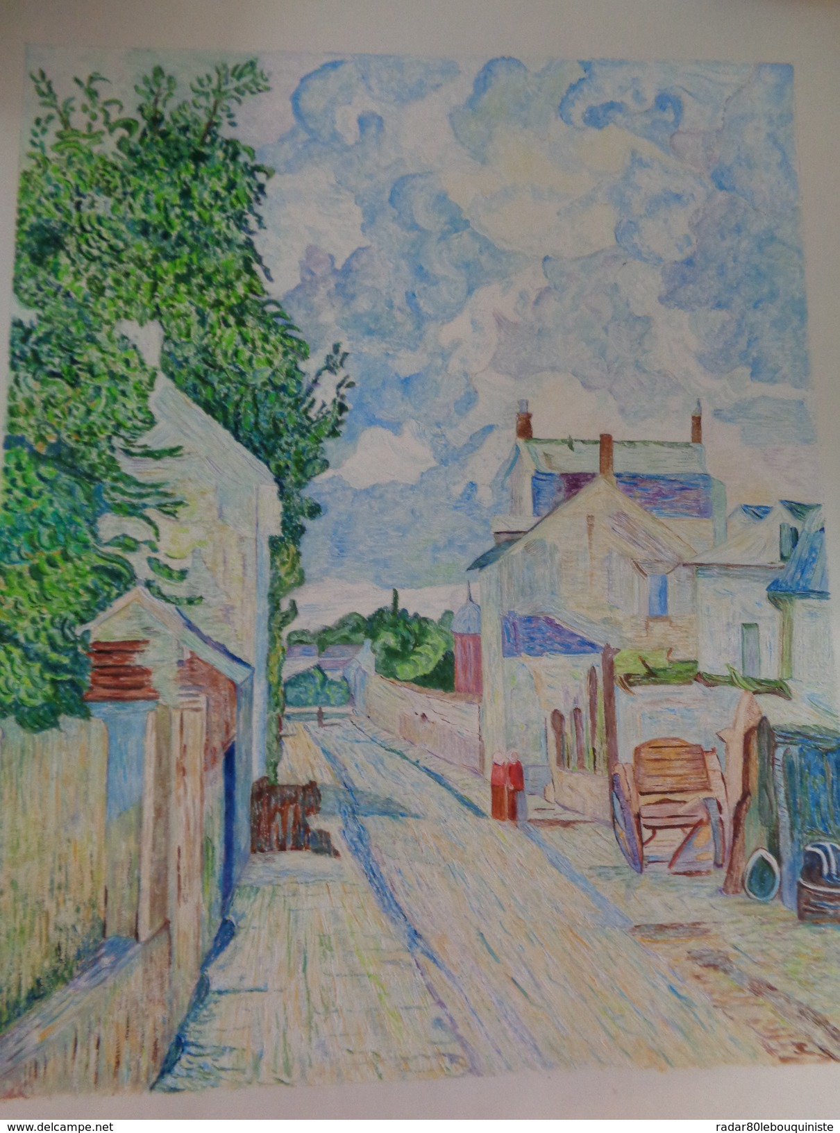Rue De L'Hermitage,Pontoise.D'après Camille Pissaro.la Feuille:580 X 478 Mm.Acrylique Sur Papier Par Debeaupuis.1977 - Acryliques