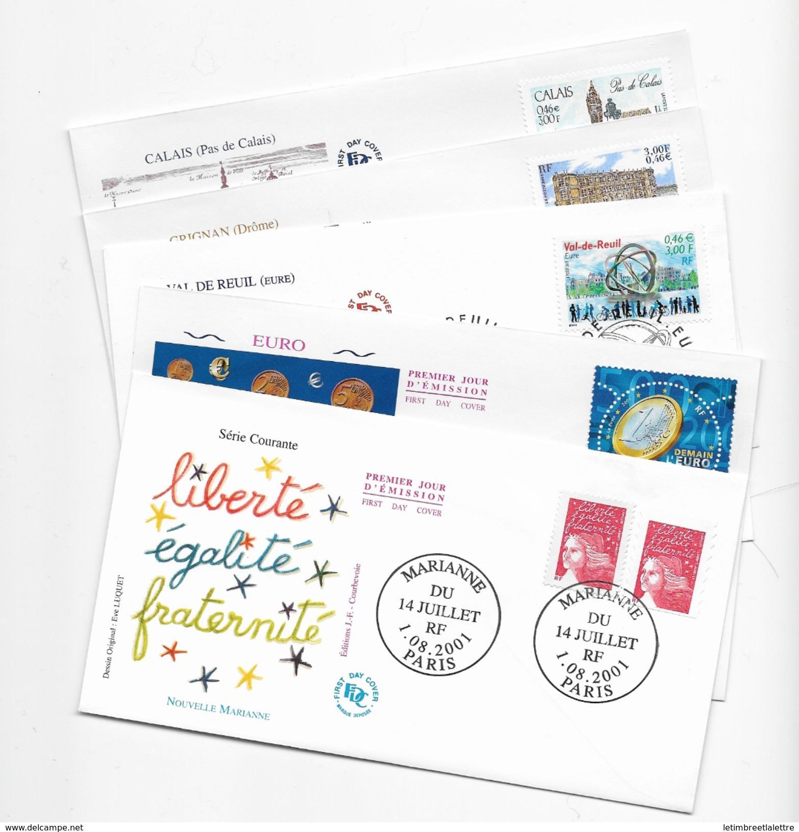Enveloppes  1er Jour FDC .2001 .  5 Enveloppes Thème Différents - FDC
