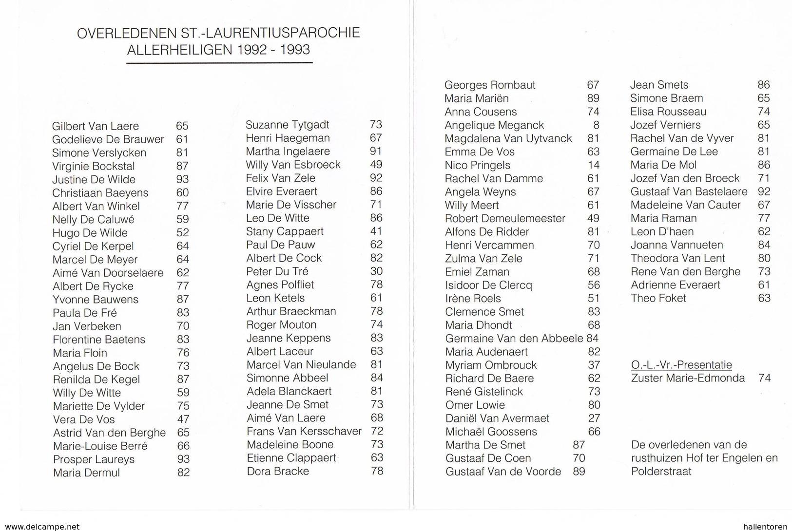 Lokeren: 1993, Overledenen St.-Laurentiusparochie( 2 Scans) - Devotion Images